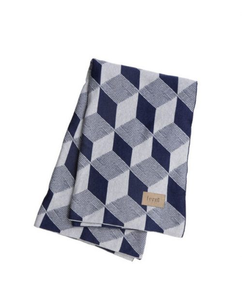 ferm living blanket squares blue
