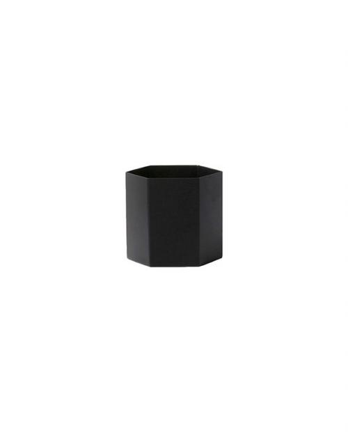 ferm living hexagon pot black l 4178