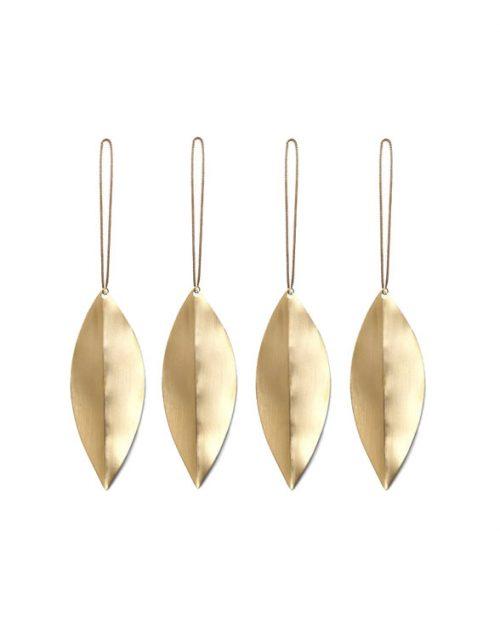 ferm living leaf brass ornaments 4erSet