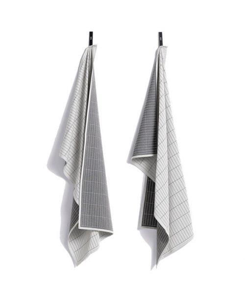 HAY Tea Towel Dash Grid grey