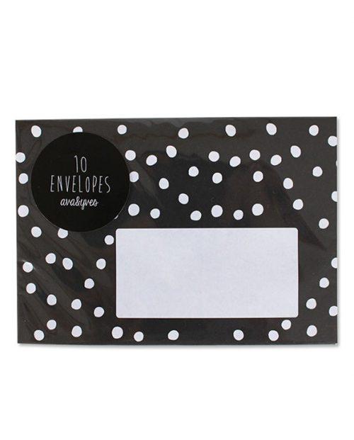 avayves 4040F Briefumschlag schwarz mit weissen Punkten 01