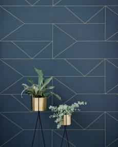 ferm living tapete lines blau 01