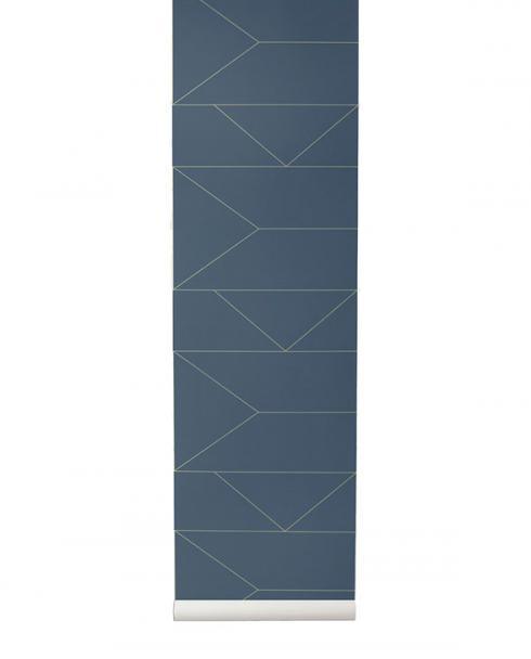 ferm living tapete lines blau 02