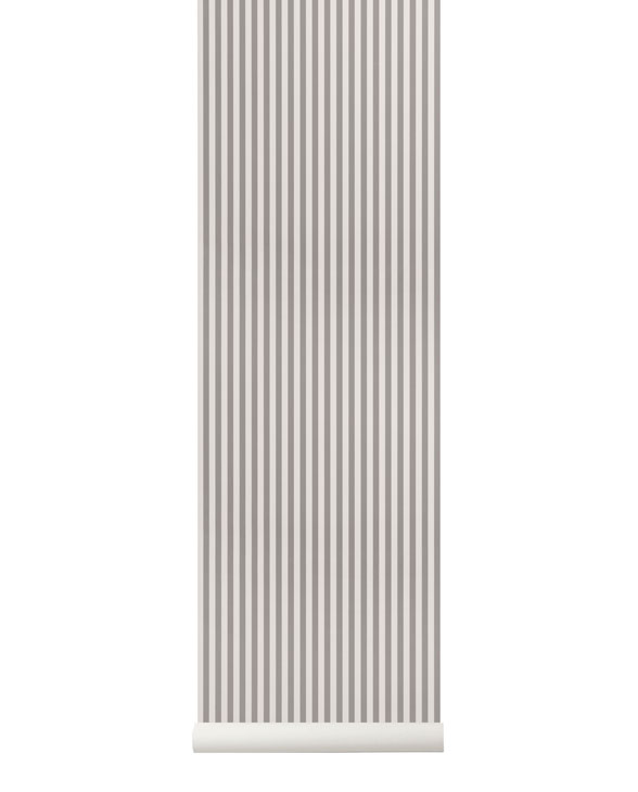 ferm living tapete thin lines grey off white 01
