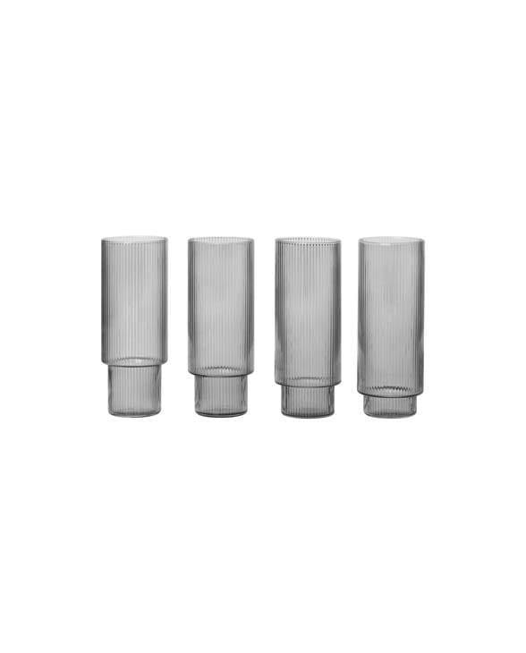 ferm Living Ripple grey long drinks glass 100128112