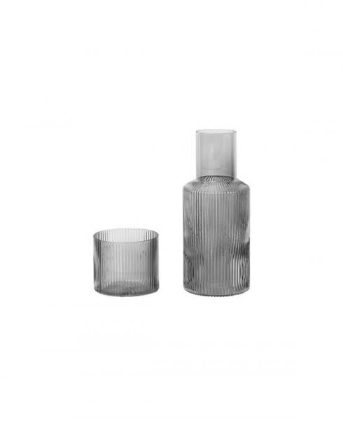 ferm Living Ripple grey small carafe set 100124112 01
