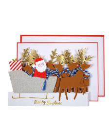 Meri Meri Karte Weihnachten Santa Schlitten 3D xmas 01