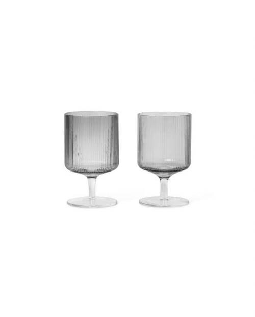 ferm LIVING Ripple weinglas set grau 100489112 1