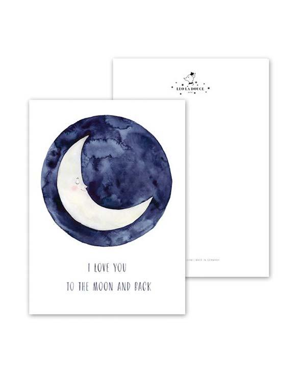 Leo La Douce Postkarte 099 Love you to the moon