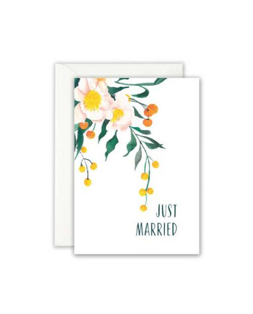 Leo la Douce Karte Just married blumen