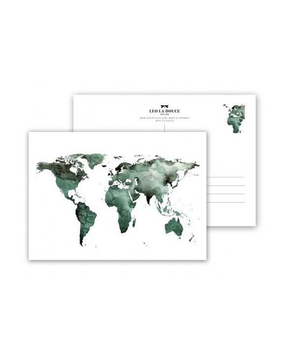 Leo la Douce Postkarte 064 world gruen