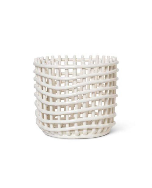 ferm Living ceramic basket L offwhite Keramik-Korb
