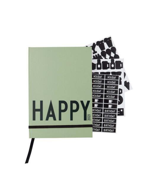 Design Letters Taschenkalender 2021 Happy gruen 70201016DARKGREEN 1