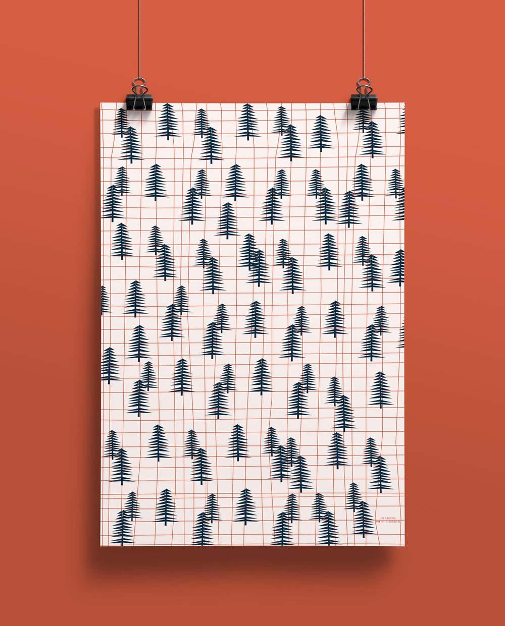 Life is delicious Geschenkpapier wald raster