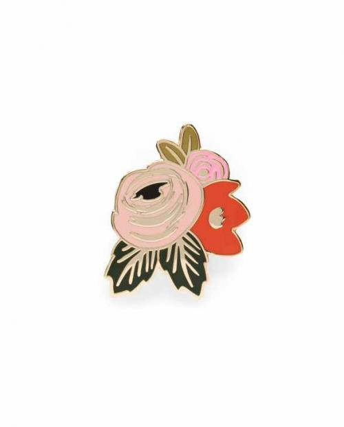 rifle paper emaille pin rose 02