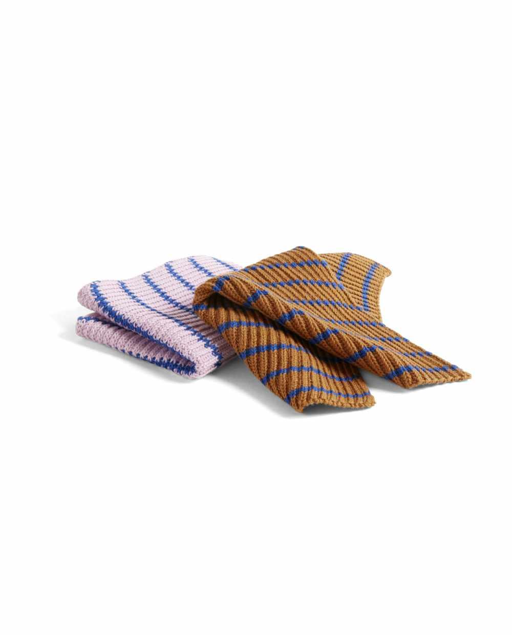 HAY 541025 Kitchen Cloth Set of 2 stripe blue brown pink